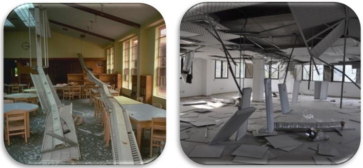 Resim 1. Aydınlatma ve asma tavan sistemlerinde meydana gelen hasar örnekleri